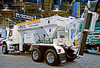 Concrete/masonry construction: Cementech mobile concrete dispenser carries cement, sand, gravel, and water and mixes concrete at the site, a sophisticated concrete batch plant on a truck.  World of Concrete/Masonry, Las Vegas, Nevada January 2006