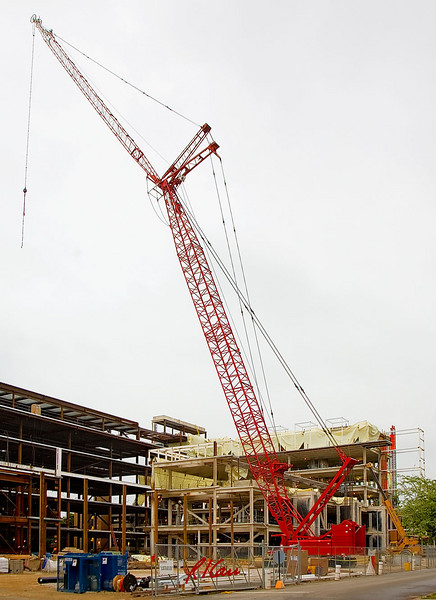 Manitowoc  crawler mounted lattice boom crane with luffing jib performs structural steel erection for new Ross School of Business, University of Michigan, Ann Arbor, March 2007.