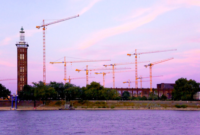 Construction equipment, cranes: Many tower cranes that service large site all point east, next to Messeturm high rise building at sundown on the banks of the Rhine River. Cologne, Germany August 2006.