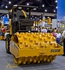 Earthmoving construction: Case SV208 single drum vibratory roller with padfoot surface: 75 kw/100 hp, 7,140 kg/15,700 lb, 1.7 m/66 in. wide. CONEXPO, Las Vegas, Nevada, March 15-19, 2005.