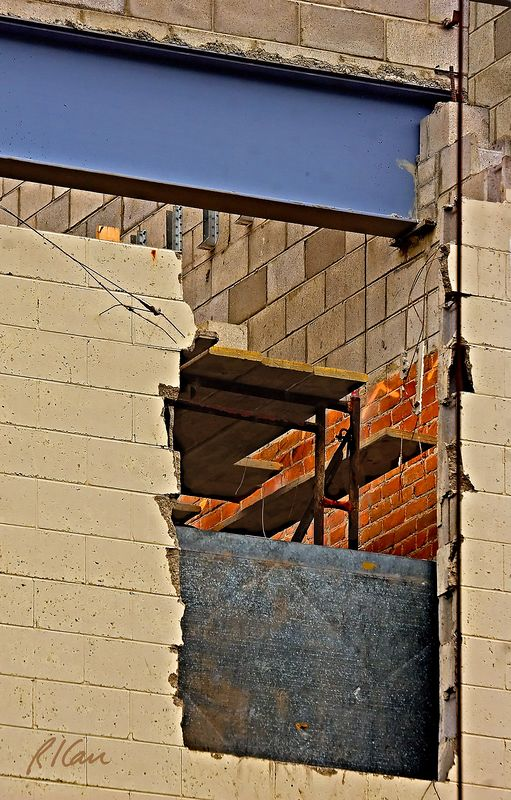 Renovation construction: Renovation of Burns Lawncare & Landscaping on Main Street, as seen from rear. Ann Arbor, Michigan, August 2005