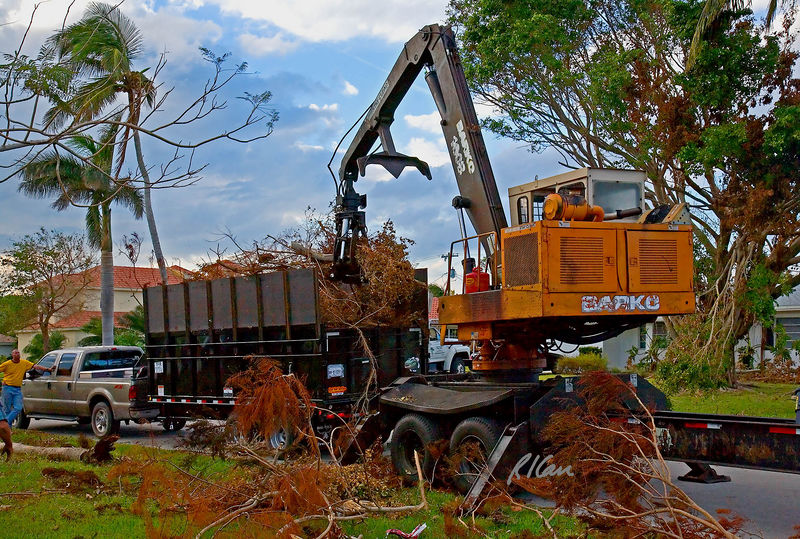Landscape construction, debris removal: Barko trailer mounted hydraulic boom forestry loader picking up tree debris and placing it in high sidewall truck for removal, after Hurricane Wilma. Naples, Florida November 2005.