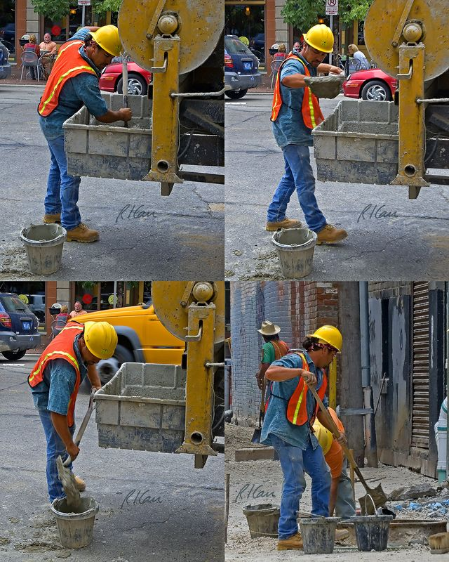 Masonry construction: Worker shovels mortar out of mortar box and into bucket and then carries bucket to manhole in alley. He then shovels mortar as needed by bricklayer to build manhole using concrete masonry units. Mortar is mixed in top loading mixer and then dumped into mortar box, both on back of Ford F700 flatbed truck outfitted as a rolling masonry construction tender. Washington Street and alley between Washington and Liberty, 1/2 block West of Main, Ann Arbor, Michigan, 2005.