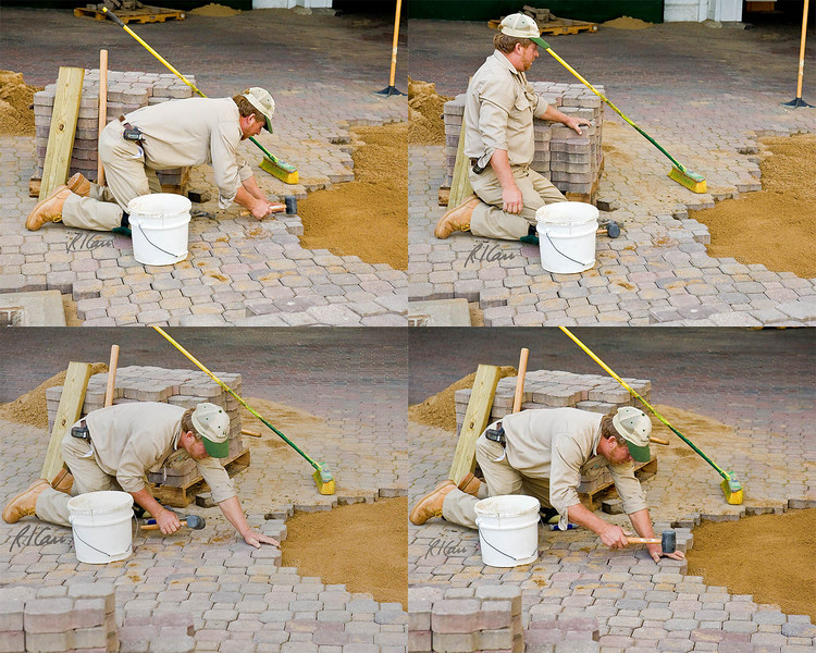 Brick mason sets brick pavers to create pavement/ walkway: He picks paver off stack, sets it in place on top of leveled sand base, and tamps it into place at correct level against adjoining pavers. Additional sand will be spread lightly over top and broomed to fill voids between pavers. Churchill Downs, home of Kentucky Derby, Louisville, Kentucky, September 13, 2007.