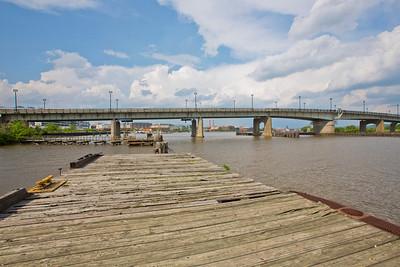 "Latitude 38º 52' 6.680"" ; Longtitude -77º 0' 26.816 View of Bridge facing East from Pier at DC Helipad"
