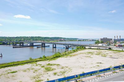 "Latitude 38º 52' 18.922"" ; Longtitude -77º 0' 24.616  View of Bridge from upper deck of Nationals Stadium"