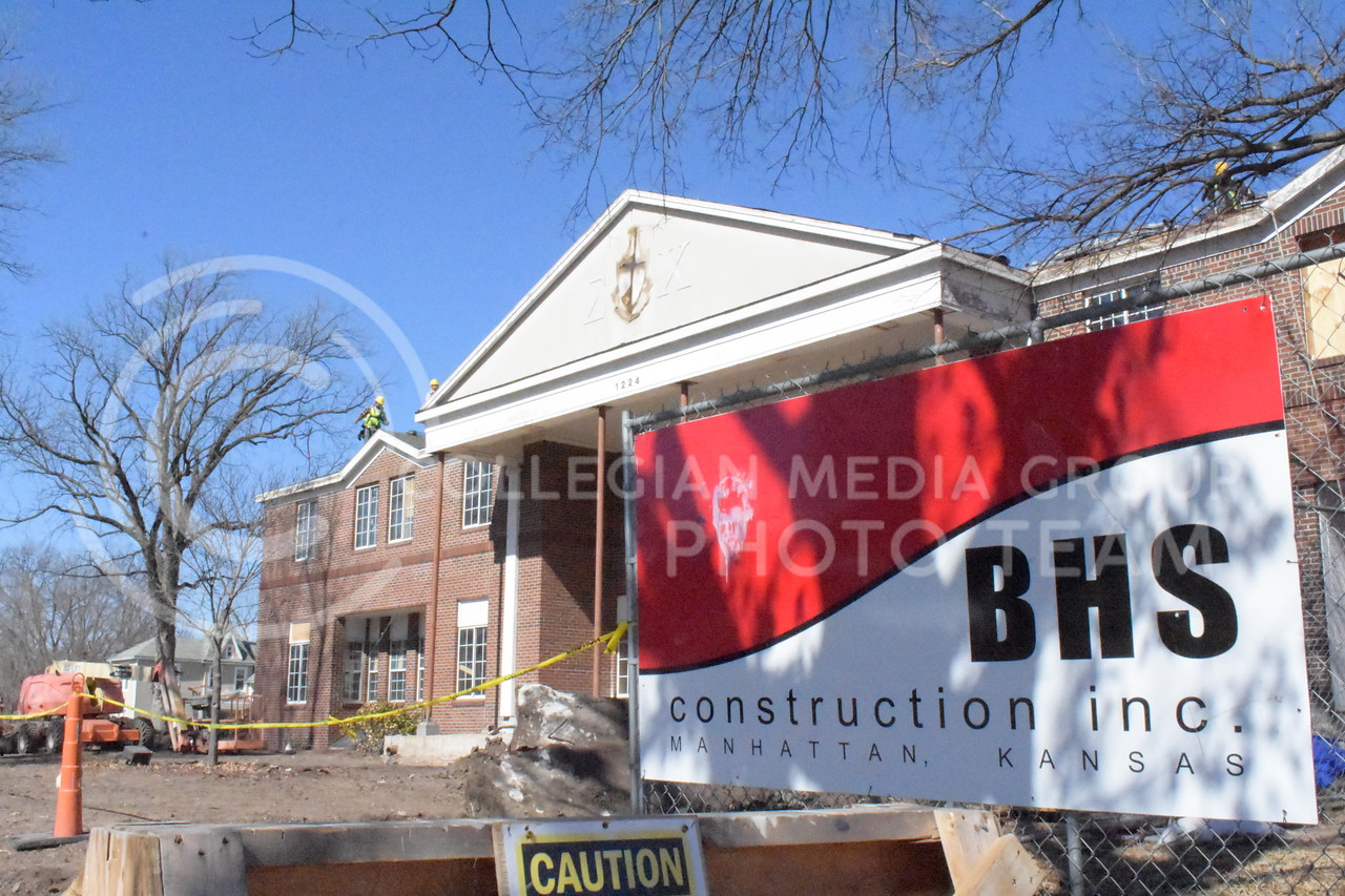 Sigma Chi Fraternity house in progress of a huge renovation to accommodate modernistic  design to further revolutionize their history.<br />  (Skylar Stephens | 3.2.18 | Collegian Media Group)