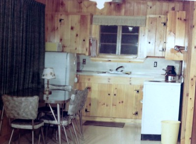 Interior of newly rebuilt cabin #5, 1966