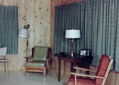 Newly reconstructed interior of Joanna's #5 cabin, 1966