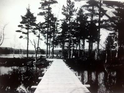 Building the original bridge to the island, spring 1946