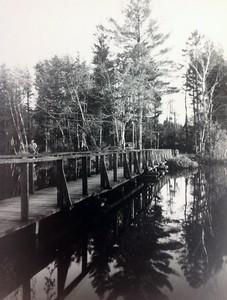 Original wooden bridge to island, mid 1940's