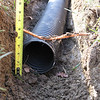 Close up showing trench depth and level of cable.