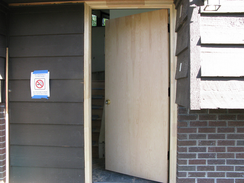 The temporary front door.