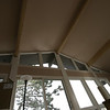 Close-up of the new beams and ceiling paint job.