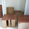 The drawers and doors waiting to go back into the kitchen cabinets.