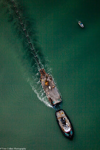 The lead tug pulling 2,700 foot pipe from Commencement Bay, WA to Gig Harbor, WA