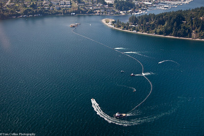 Gig Harbor Outfall Project ~ Working the 2,700 foot section of outfall pipe into position in the Tacoma Narrows Passage.