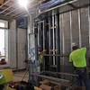 Framing work on the second floor of the existing Language Hall building.