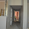 A view from the second-floor landing in Language Hall, looking down a hallway toward the new addition, which will house faculty offices.