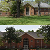 A before-and-after composite shows the front view of Haygood.  At top, a photo taken in spring of 2009 and at bottom, a photo taken on July 6.