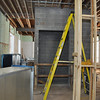 The elevator shaft is installed in Language Hall.