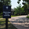 Signage around the campus points library visitors to the temporary library-services location in Lovern Hall.
