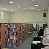 Book stacks and study areas in the library-services center, Lovern Hall.