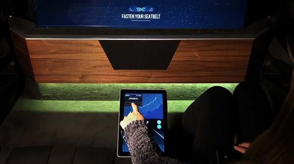 Interactive displays in the BMW X5 concept car outfitted by Intel and Warner Bros. alert passengers to important information about their ride, including prompting them to fasten their seatbelts. The vehicle is on display at CES 2019 from Jan. 8-11 in Las Vegas. (Credit: BMW/Warner Bros.)