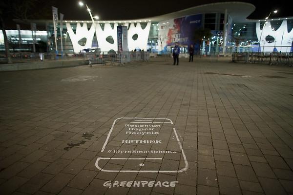 Accion de Greenpeace en el Mobile World Congress
