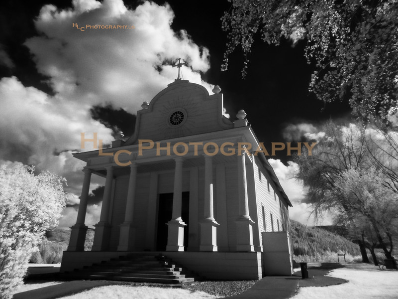 Mission of the Sacred Heart in Cataldo, Idaho. Idaho's oldest standing structure. (taken with an infrared camera)