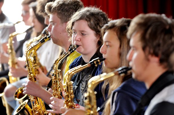 SWANSEA / Dave<br /> Saturday 18th June 2016<br /> Swansea International Jazz Festival...<br /> Saxophonists attending the School's Big Band Workshop at the National Waterfront Museum.