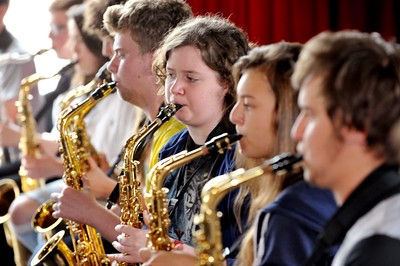 SWANSEA / Dave Saturday 18th June 2016 Swansea International Jazz Festival... Saxophonists attending the School's Big Band Workshop at the National Waterfront Museum.