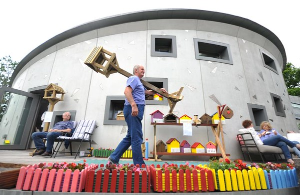 SWANSEA / with story<br /> Saturday 18th June 2016<br /> 'Birdman' John Camper bringing one of his birdtables for sale at Maggie's Summer Fair, Maggies Centre, Sigleton Hospital.