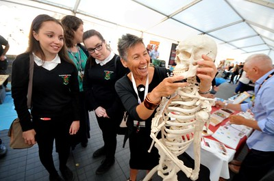 SWANSEA/ Nick  Thursday 23rd June 2016 Careers Festival, Swansea Bay Campus Clair Rees from Neath Port Talbot College promoting the Health Social and Childcare course.