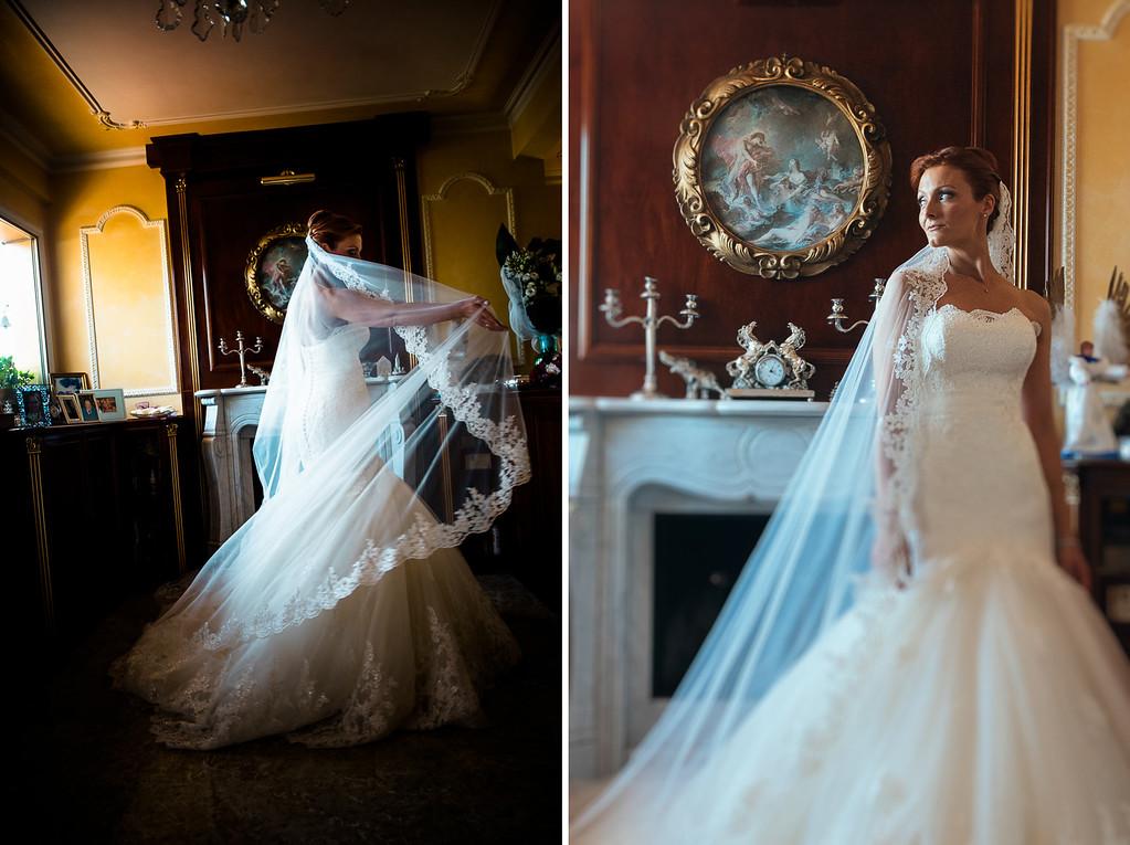 bride wearing Nicol Spose dress