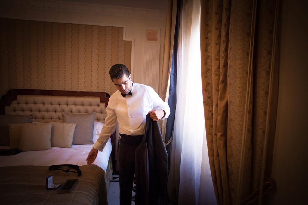 Giorgio Armani dress for the groom
