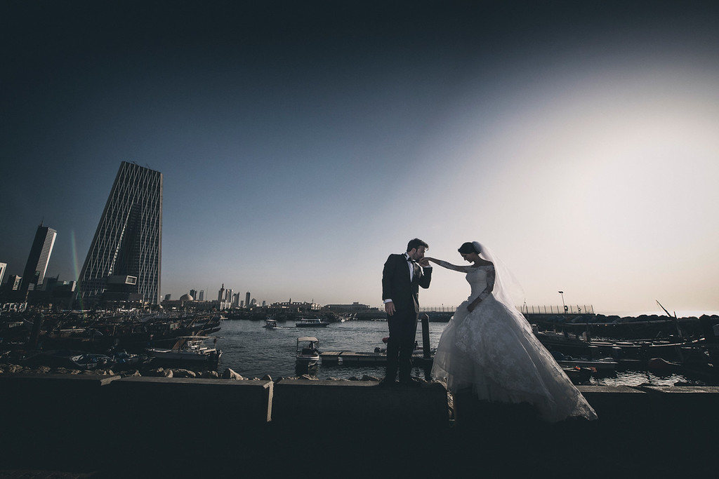 Couple Portrait Skyline Backdrop