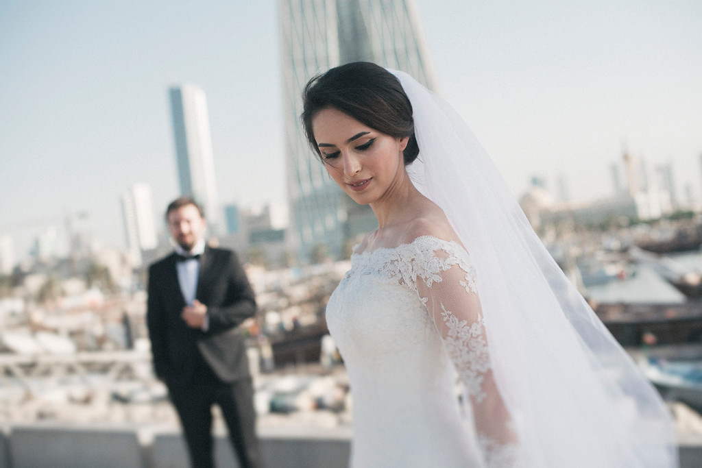 Rasha wears haute couture Pronovias Dress