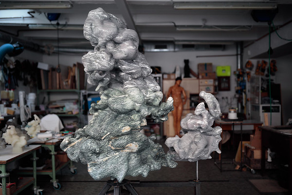 Marble cloud sculpture by Karen LaMonte