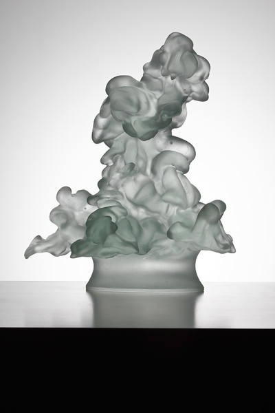 For this cloud sculpture, I spent years developing a glass which scatters light in the same way as real clouds
