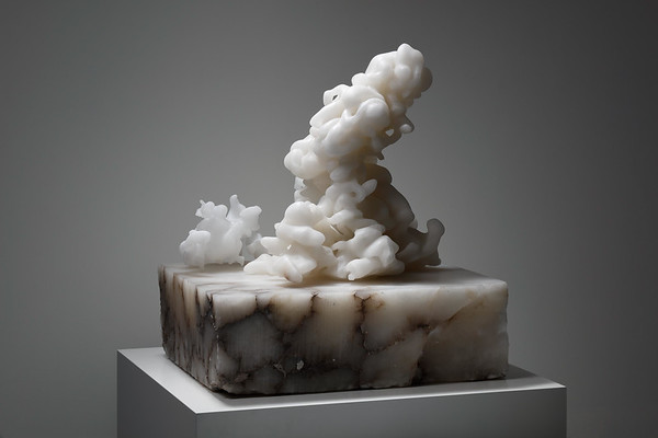 A cloud carved in alabaster uses the stunning translucency of the stone to explore the symbolism of clouds