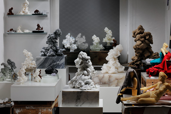 Artist studio with material studies for cloud sculptures