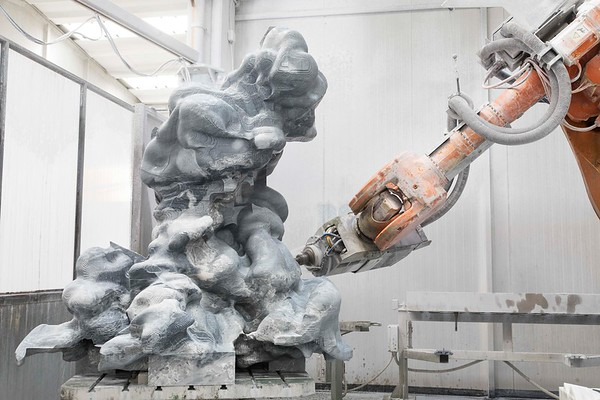 The giant stone carving robot worked on this sculpture of a cloud in marble non-stop for 5 weeks.