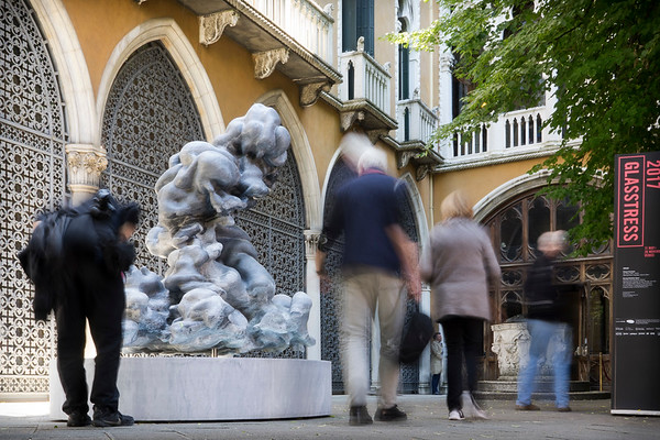 People were fascinated by Karen LaMonte's marble cloud sculpture at the Venice Biennale