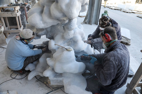 Hand carving cloud sculpture in marble | Karen LaMonte