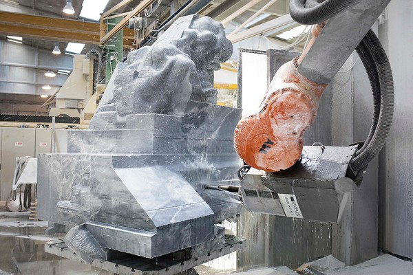 This cloud sculpture was carved in marble by a giant robot non-stop for 5 weeks.