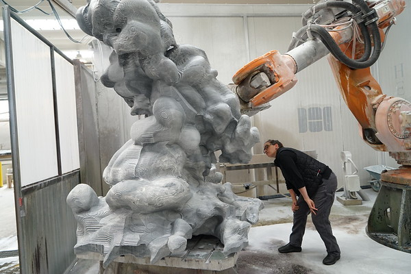 Giant robotic marble carving arm with contemporary artist Karen LaMonte