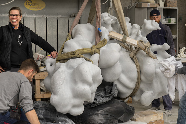 Weight and weightlessness are central to contemporary artist Karen LaMonte's sculpture of a cloud in marble