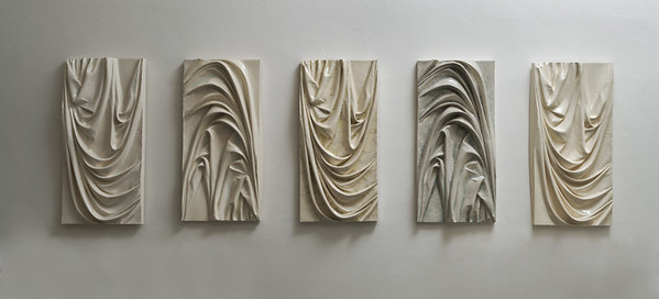 Installation of five drapery sculptures, bas-relief abstract ceramic