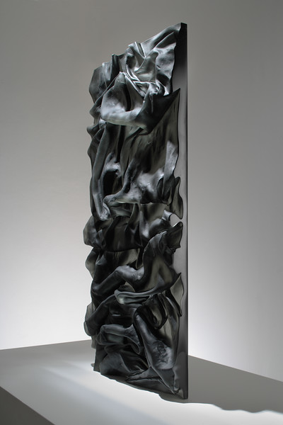 "Drapery sculpture Ink in Water/Smoke in cast glass 2008, 28"" x 36"" x 2"""